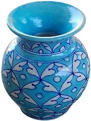 Aditya Blue Art Pottery Handmade Ceramic Decorative Sky Blue Designer Flower Vase (4 Inches)