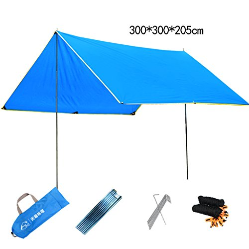 Bâches de protection Auvent Tente extérieure Simple Grand Loisirs auvent pergola Protection Solaire abri Contre la Pluie Plage Sortie Camping Tente (Color : Green, Size : 300 * 300 * 205cm)