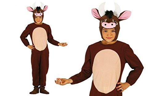 Kuh Stier Kostüm für Kinder Gr. 98-134, Größe:128/134