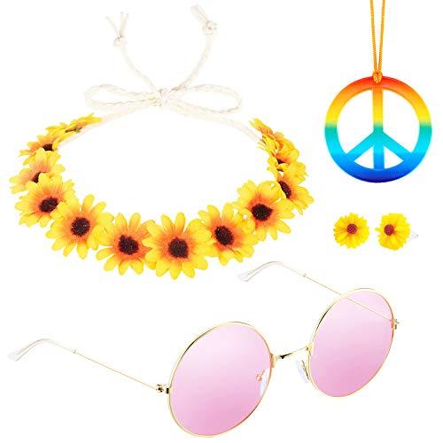 Konsait 4er Hippie Kostüm Set, 60s 70s Hippie Ankleiden Zubehör Set, Hippie Sonnenbrille, Blume Haarband, Frieden Zeichen Halskette und Peace - Frieden Mädchen Kostüm