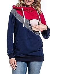 BESBOMIG Ropa Lactancia Mujeres Camiseta de Lactancia Encapuchado Premamá Camisa - Doble Capa Maternidad Ropa de Enfermería de Mangas Largas