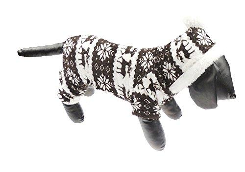Schokolade Festive Weihnachten Snow Flake/FAIRISLE-Design Pullover hoodie mit Pom Pom Kapuze kleine bis große Hunderassen (Bootie Pom)