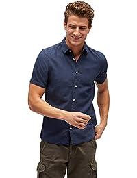 TOM TAILOR Herren Freizeithemd Ray Cotton Linen Shirt