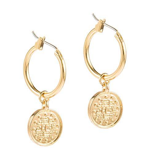 Trendige Vintage-Ohrringe aus Zinklegierung mit Münze im Portraitformat für Frauen und Frauen