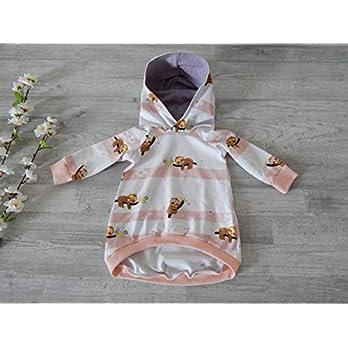 Tunika aus Jersey mit Streifen in weiß und apricot und Faultieren. Gr. 74. 95% Baumwolle, 5% Elasthan