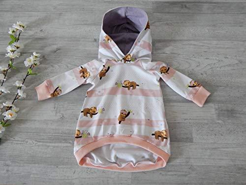 Tunika aus Jersey mit Streifen in weiß und apricot und Faultieren. Gr. 74. 95% Baumwolle, 5% Elasthan - Herz Tunika Pullover