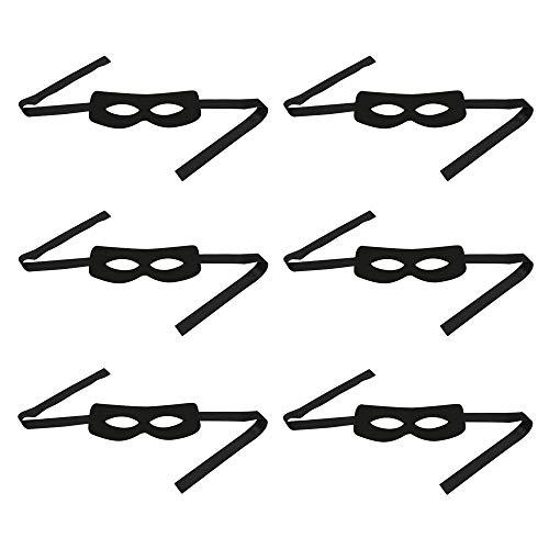 MLJ - 6 Stück Zorro / Banditen / Superheld Schwarz Augenmasken für Kostüm Cosplay (Schwarze Superhelden Kostüm Männer)