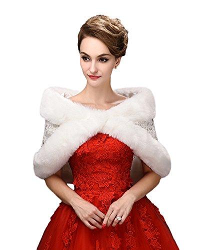 SK Studio Brautverpackungen Faux-Pelz-Schal Hochzeit Bolero Hochzeit Jacke Winter-Hochzeit Mantel Weiß