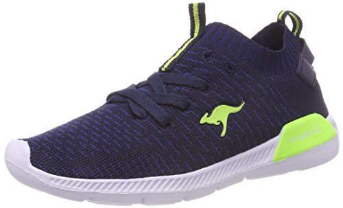 KangaROOS Unisex-Kinder K-Sock II Sneaker, Blau (Dk Navy/Lime), 32 EU