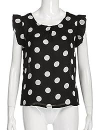 Camisa de manga corta de la gasa de la blusa de la gasa de 2018 mujeres de la moda, verano nuevo diseño sin mangas Wave Point Tops…