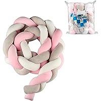 Luchild Bettumrandung Babybett Länge 2m Baby Nestchen Bettumrandung Weben Geflochtene Stoßfänger Dekoration für Krippe Kinderbett