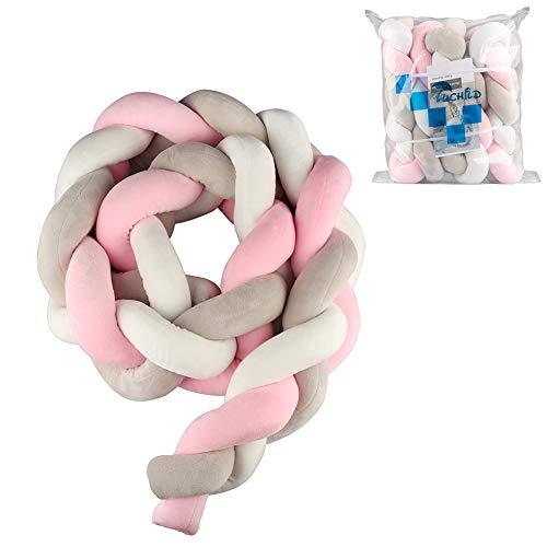 Luchild Protector Cuna Bebe Parachoques Cuna Longitud 2m Protector de Trenzas Cojín de Serpiente para Decoración del Hogar (Rosa + blanco + gris)
