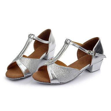 XIAMUO Frauen Girl's Kids Dance Schuhe Latin/Salsa/Samba Satin/Kunstleder 3,5CM Absatz (mehr Farbe) Silber