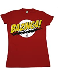 Big Bang Theory - - Bazinga! Aucun visage sur Red femmes / jeunes femmes T-shirt In Red, Small, Rouge