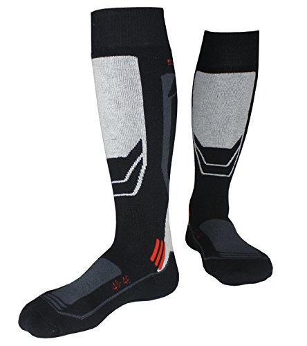 Barrageon calze da sci termiche calde per sci, ciclismo, trekking, calze da sport invernali controllo dell'umidità anti-batterici anti-odore per adulto nero/grigio eu 43-46