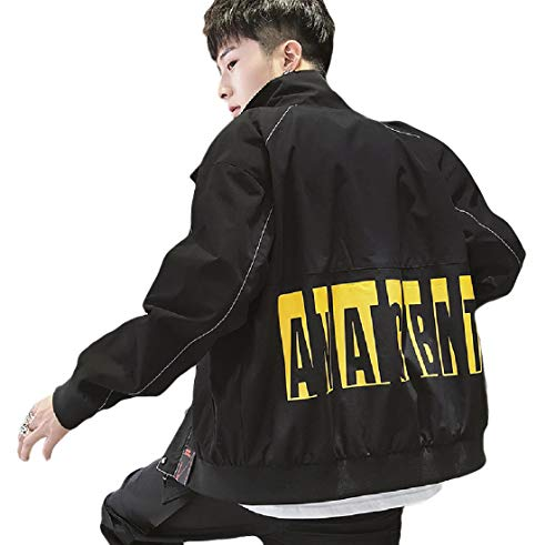 CuteRose Men's Varsity Jackets Zip Up Spring/Fall Baggy Outwear Jacket Black 2XL -