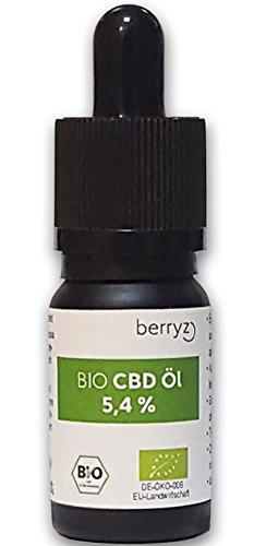 CBD Öl BIO 5,4 Prozent % berryz + Hanföl Cannabis-öl Hanf Tropfen 10 ml CBD Liquid Oil 5 Prozent PLUS – 540mg Cannabidiol