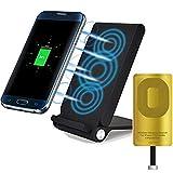 3 bobines LED Qi Chargeur Induction sans Fil Plater Pliable Comb Chargeur Station de Recharge Station d'accueil pour iphone 7 6 6s Plus 5 5s Se, Noir + Récepteur pour iphone