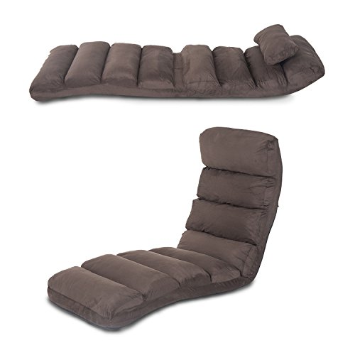 HOMCOM Lounge Sofa Bed Folding Adjustable Floor Lounger Sleeper Futon Mattress Seat Chair w/Pillow (Brown)