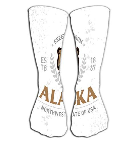 Walnut Cake Hohe Socken Outdoor Sports Men Women High Socks Stocking Alaska Old School Textured Apparel Fashion Print Retro Typographic Badge Design Vintage Style Americana Tile Length 19.7