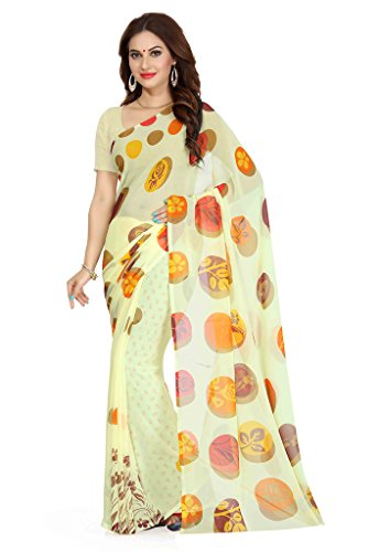 Ishin Faux Georgette Yellow Printed Women's Saree  available at amazon for Rs.299
