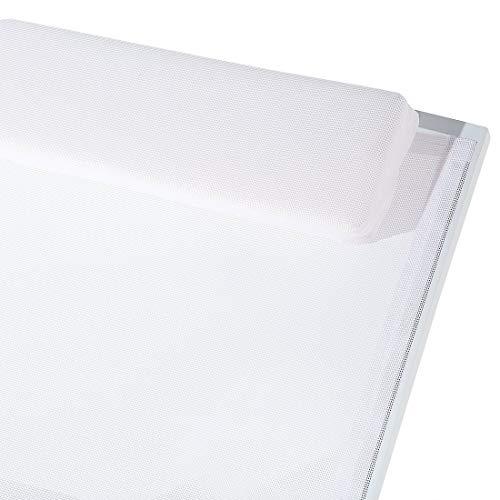 Beliani Gartenliege Aluminium Textilbespannung Weiss Catania II - 7
