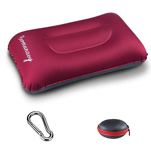 Bermunavy cuscini da campeggio, cuscino da viaggio - cuscino gonfiabile da campeggio impermeabile leggero portatile compatto per supporto da collo (rosso 1 pezzi)
