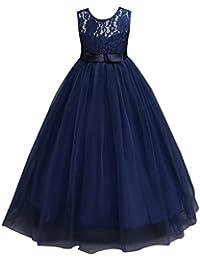 WanYang Vestido De Fiesta Para Niña Elegante De Encaje Vestido De Fiesta Princesa Traje Formal Sin