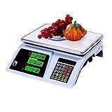 QWW Balanza electrónica de supermercado,Balanza electrónica de Alta precisión Escala de Precios de supermercado Plataforma Comercial Plataforma balanza de Frutas Instrumento,30kg/Blackword