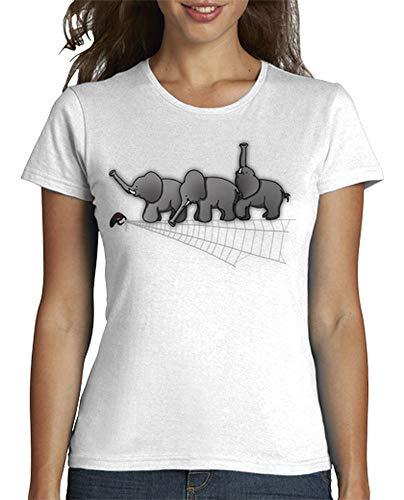 latostadora - Camiseta Elefantes y Araa para Mujer Blanco XL