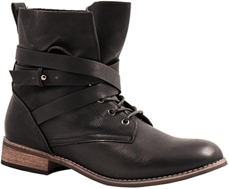 Botines Biker Boots Elara, en un aspecto de piel moderno, para mujer, color Negro, talla 40 EU