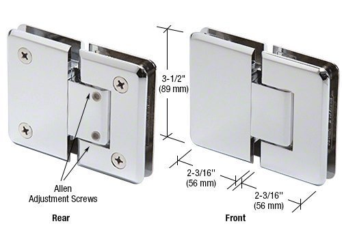 CRL Pinnacle 380 Series Chrome Adjustable 180° Glass-to-Glass Hinge by C.R. Laurence -