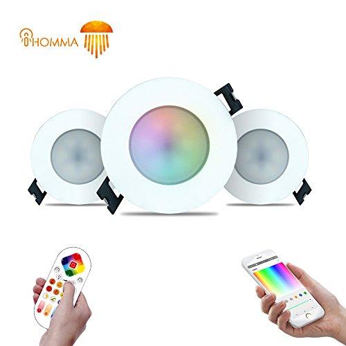 iHomma IP65 LED Einbaustrahler 6W RGBWW 400 Lumen Wasserdicht Einbauleuchten Smart WiFi / Bluetooth / IR Deckenstrahler 16 Millionen Farbe Dimmbar via Smartphone APP und Infrarot-Fernbedienung 220V (3xWiFi+IR RGBWW)