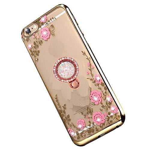 Miagon Glitzer Durchsichtig Transparent Blumen Schmetterling Galvanik Silikon Hülle mit 360 Grad Diamant Ring Ständer Strass Schutzhülle für Xiaomi Mi 9