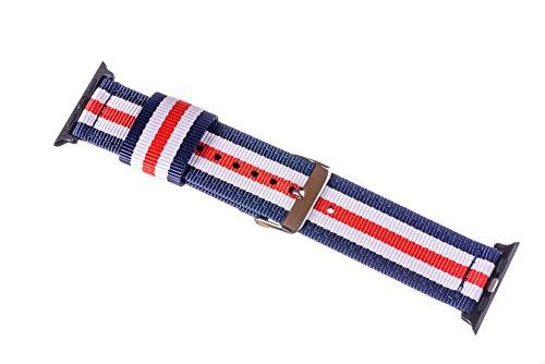 Premium Ersatzarmband kompatibel mit allen Apple Watch Modellen | Für 44/42mm Apple Watch & 40/38mm Apple Watch inkl. Edelstahl-Adapter (44/42mm Band Blau-Weiß-Rot-Weiß-Blau mit schwarzem Adapter) (Armband Blau, Rot, Weiß,)