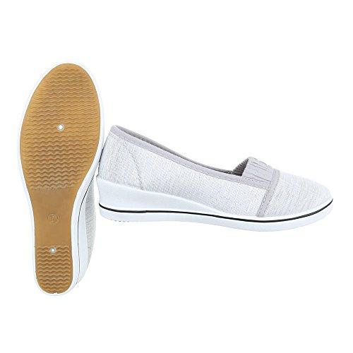 Slipper Damenschuhe Low-Top Keilabsatz/ Wedge Moderne Ital-Design Halbschuhe Grau Silber 284-Y