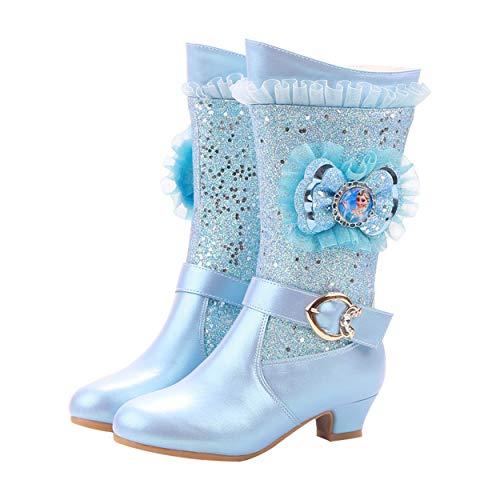 YOSICIL Mädchen Prinzessin Stiefel ELSA Gefütterte Schneestiefel Winter Thermo Gummistiefel Kinder Basic Schlupfstiefel Kostüm Zubehör für Karneval Halloween Verkleidung Blau Pink Lila - Mädchen Kostüm Stiefel