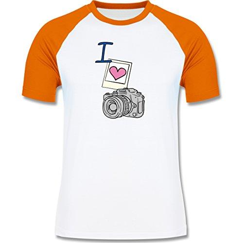 I love - I love photography - zweifarbiges Baseballshirt für Männer Weiß/Orange
