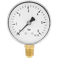 Manómetro de presión hidráulica de 1/4 de pulgada NPT de 0 – 6 barras de montaje lateral para el agua de aire del dial de aceite instrumento