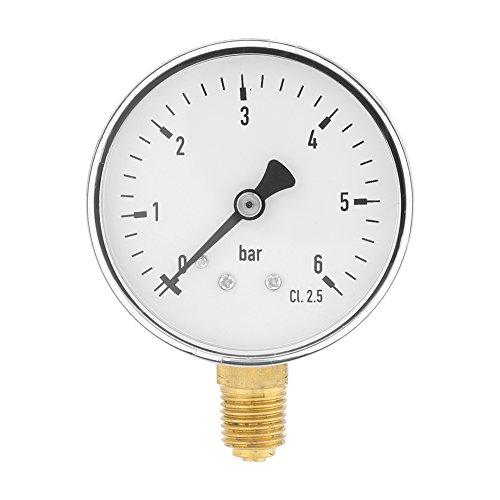 Flüssigkeit Zifferblatt (60mm Dia 0-6bar Pneumatische Hydraulische Manometer Meter, Gas Wasser Öldruck Tester, 1/4