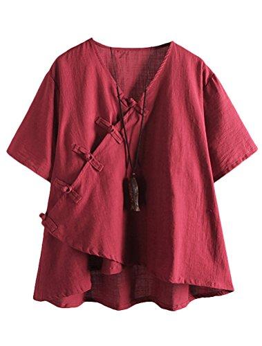 MatchLife Damen Leinen Tops Klassisches Vintage T-Shirt Chinesisch V-Ausschnitt Tunika Bluse Wein Fits EU 42-48 - Leinen Bluse Top