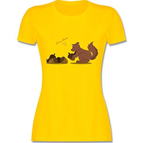 Wildnis - Eichhörnchen True Love - tailliertes Premium T-Shirt mit  Rundhalsausschnitt für Damen Gelb