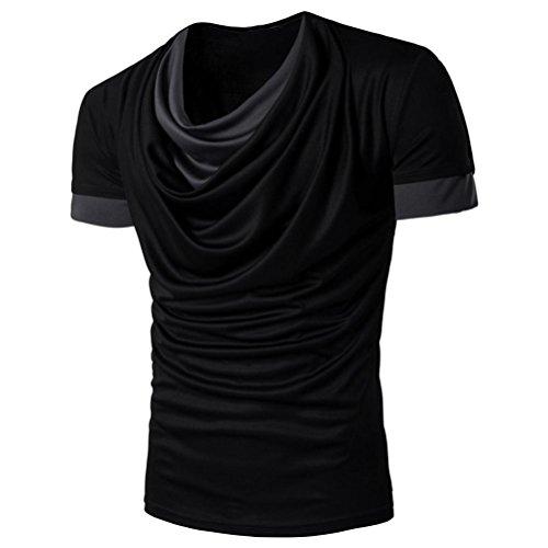 Amlaiworld Causal Patchwork O-Neck Print T-Shirt für Männer, 2017 Neue Mode Kurzarm T-Shirts Schwarz