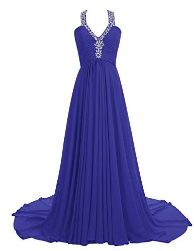 Dresstells Robe de soirée Robe de cérémonie emperlée en mousseline col en V traîne moyenne Bleu Saphir