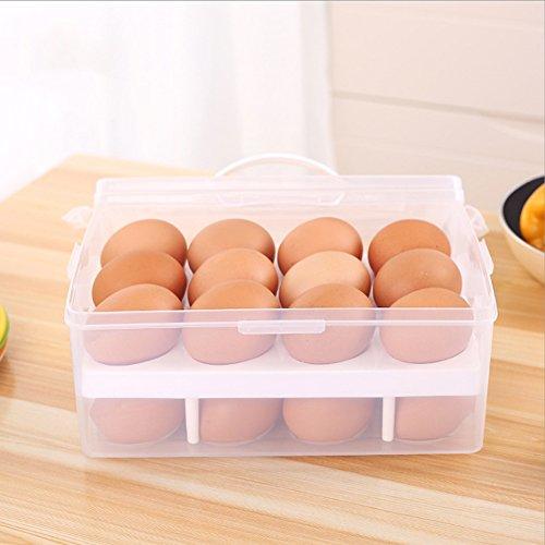Yixin 2 strati di grande capacità titolare uovo contiene 24 uova infrangibile antisdrucciolevoli delle uova contenitore con maniglia,il colore può variare