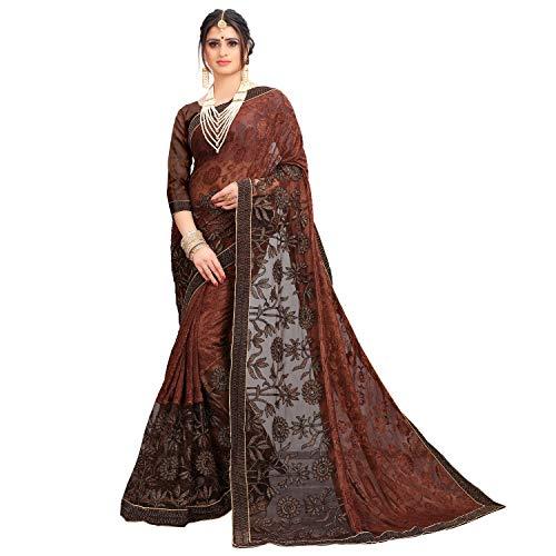 Being Banarasi Women's Brown Silk Saree with...