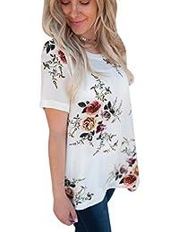 823c5e5770b6a Camisetas Manga Corta Mujer Camiseta Largas Señora Camisas Estampadas  Flores Manga Corta Gasa Amplias Camisa Anchas Poleras…