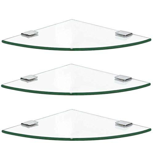 YONGMEI Badezimmer-ausgeglichenes Glas-Eckregal-Dreieck-Regal Badezimmer-Regal-Doppelschicht-an der Wand befestigtes Regal-Edelstahl-Badezimmer-Duschregale (Farbe : 3-Tier, größe : 20cm) - 3-tier-wand Bad