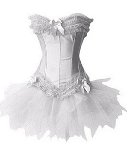 ous Tutu Trim Vollbrust Mieder Mini Rock Kleid Corsage (Plus Size Korsett-kleid Mit Tutu)