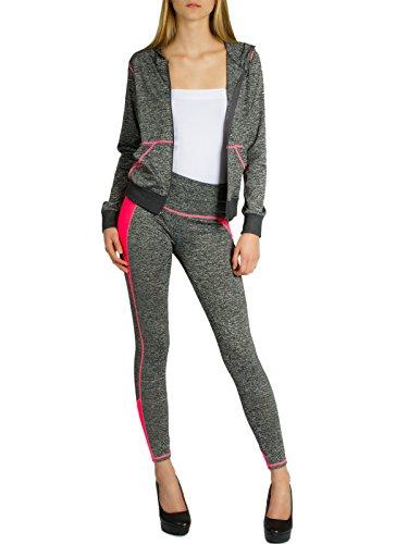 CASPAR JG001 stylischer Damen Jogginganzug mit Kapuze, Größe:M/L, Farbe:grau meliert/neon pink